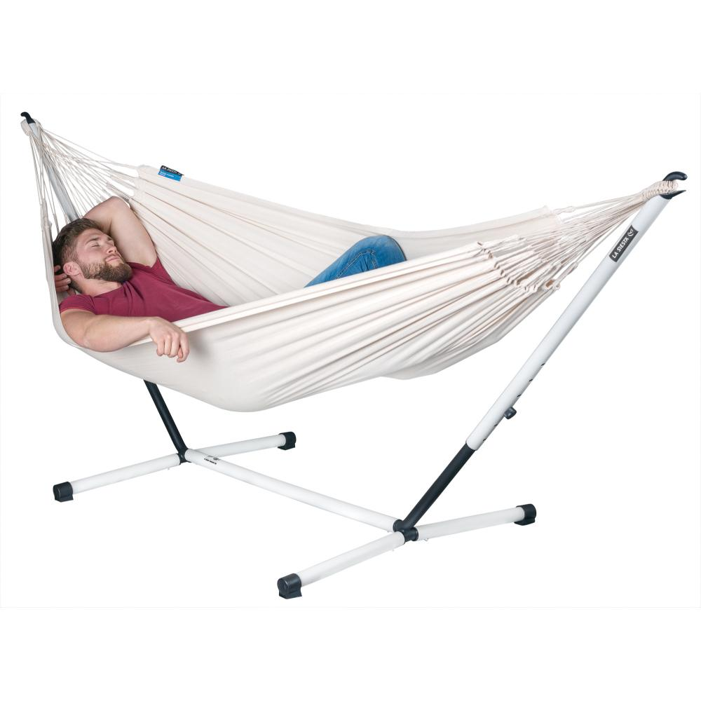 Single Organic Cotton hammock and metal stand