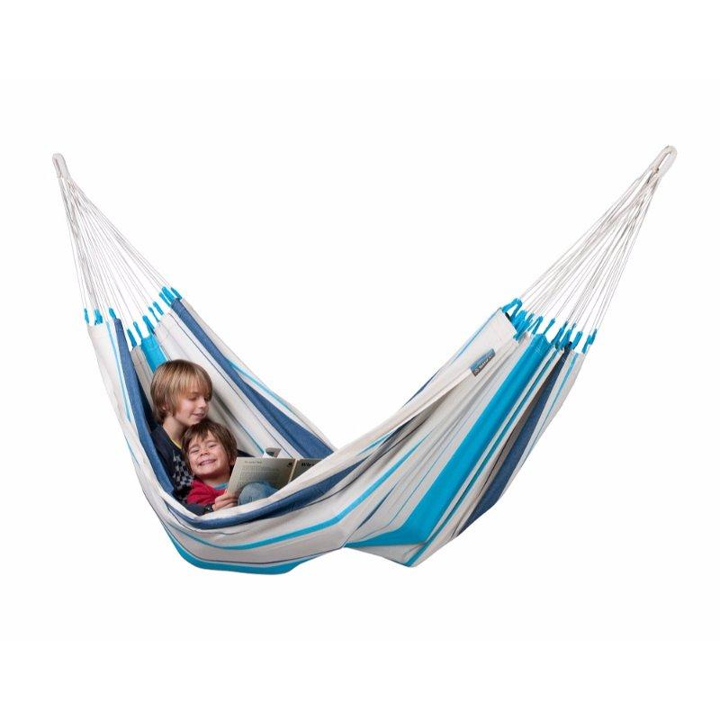 White and blue cotton hammock