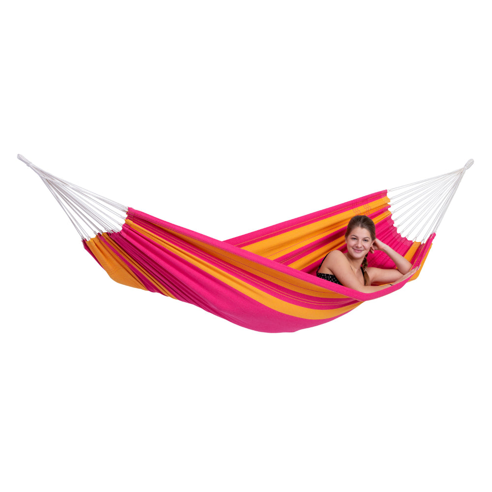 Brazilian Single Cotton Hammock - Pink and Orange