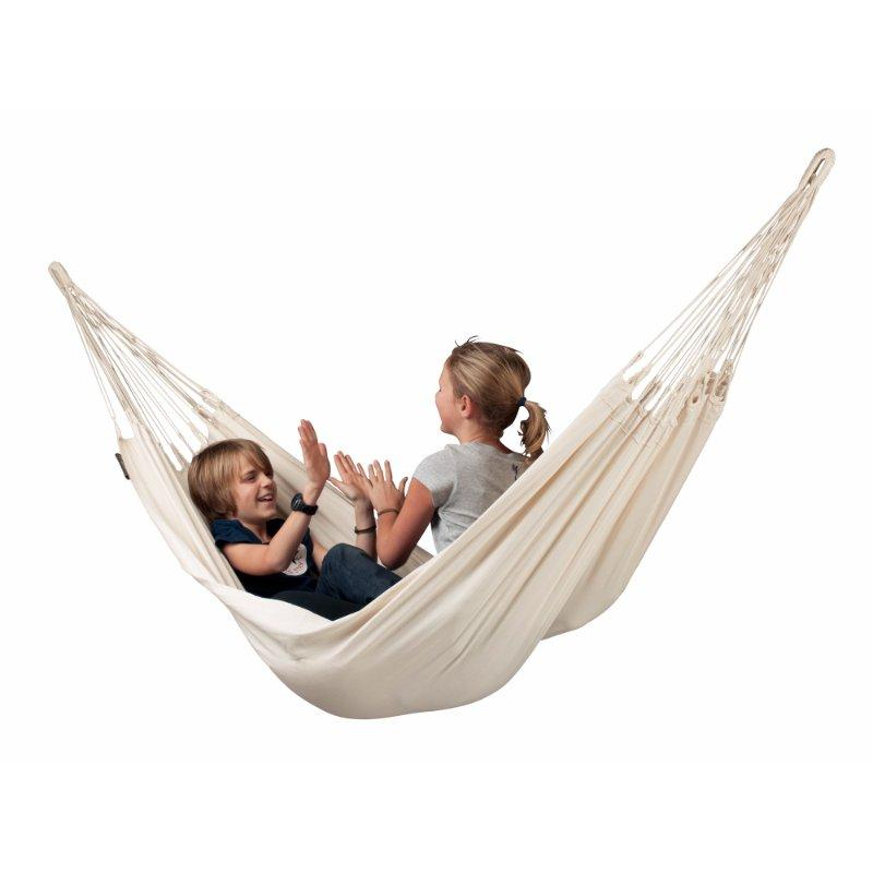 Children in organic cotton hammock