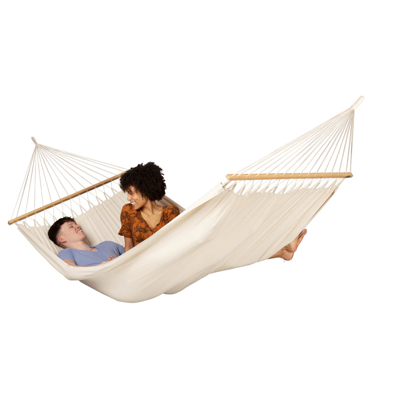 Couple in two person hammock