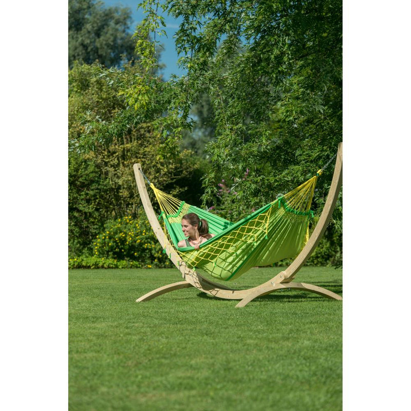 Double size Brazilian hammock and wooden stand
