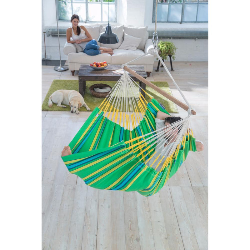 Green and yellow chair hammock