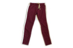Burgundy/White Track Pants