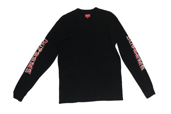 Supreme Sleeve Logo Waffle Thermal Black Size L