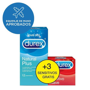 Durex ES Condoms Durex Duplo Natural Plus 12u y Sensitivo Suave 3u Condones