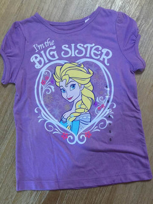 Disney Frozen Elsa I'm the Big Sister T-Shirt Size 5