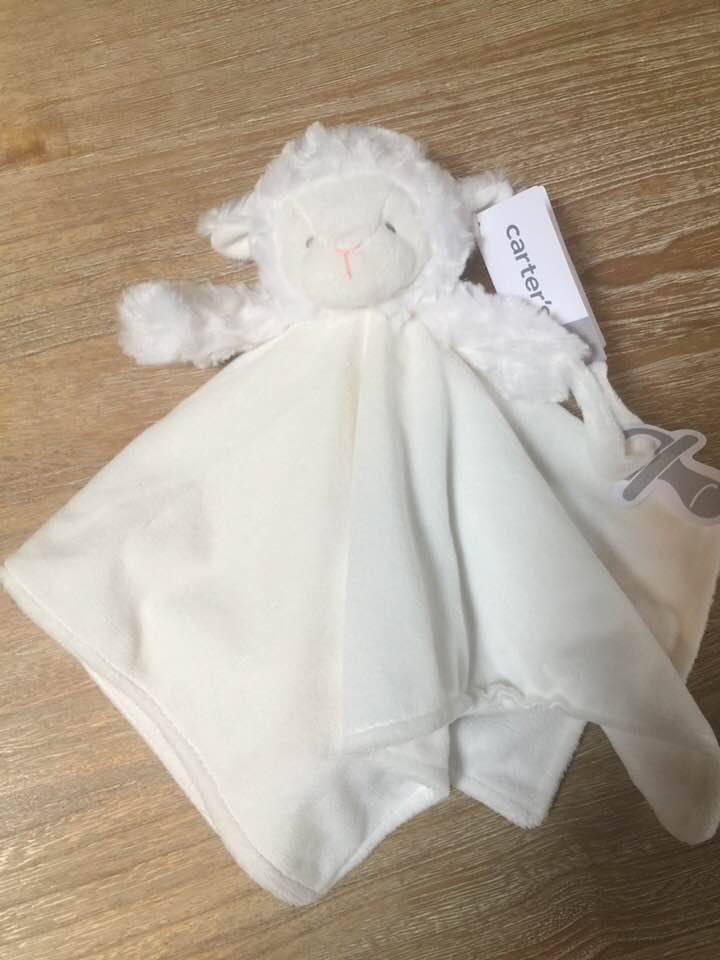 Infant's Plush Security Blanket Baby Bunny Soft White Lovey - Personalized