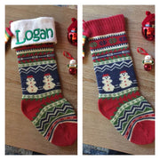 "Snowman 21"" knit Christmas Stocking with plush cuff – Personalized"