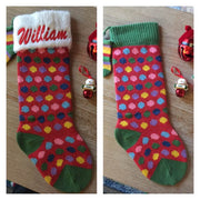 "Polka Dot 21"" knit Christmas Stocking with plush cuff – Personalized"
