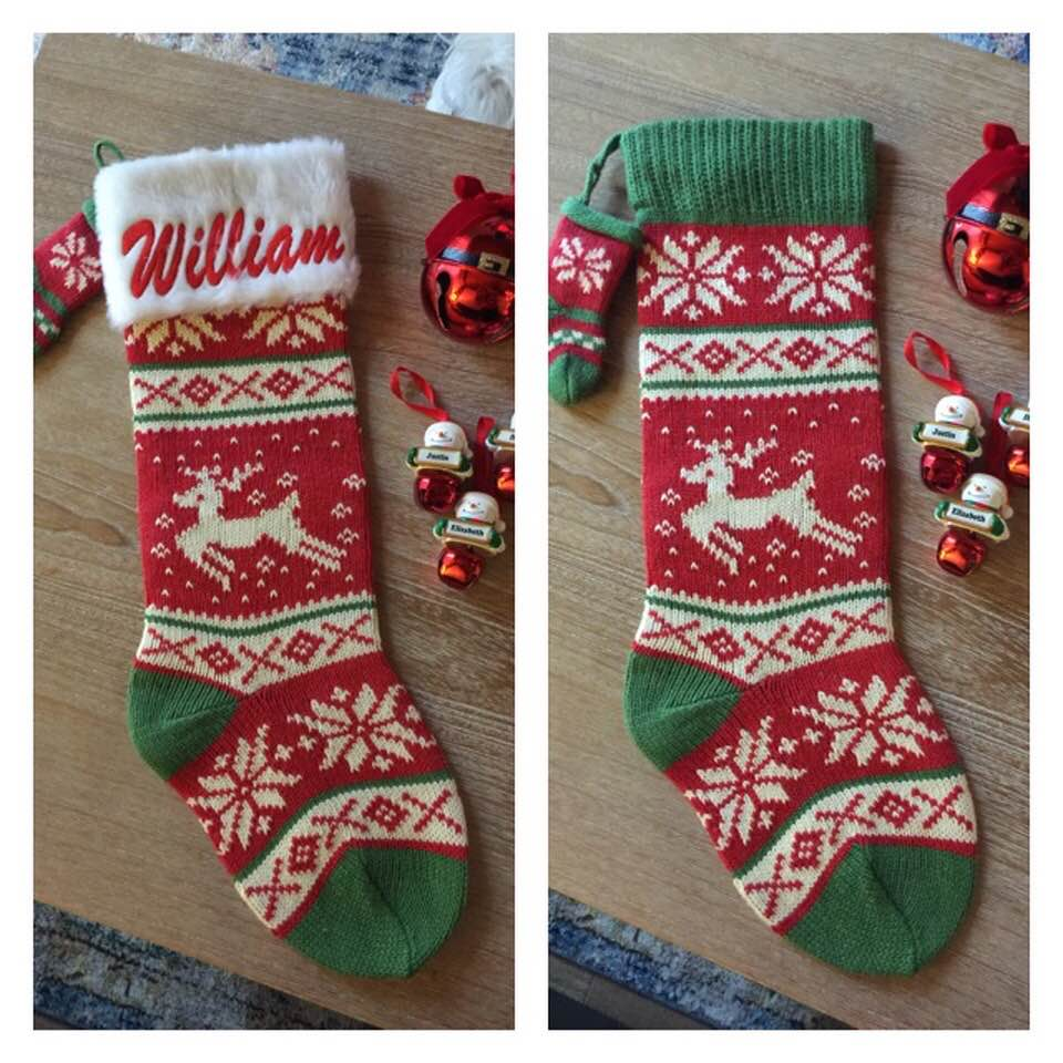 "Reindeer 21"" knit Christmas Stocking with plush cuff – Personalized"