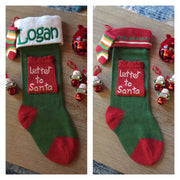 "Letter to Santa 21"" knit Christmas Stocking with plush cuff – Personalized"
