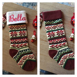 "Burgundy 21"" knit Christmas Stocking with plush cuff – Personalized"
