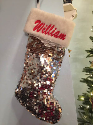 "Beautiful Silver or Red Sequence Christmas Stocking 20""  Fake Fur Cuff - Personalized T14"