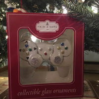 Video Game Controller Christmas Ornament White Glass