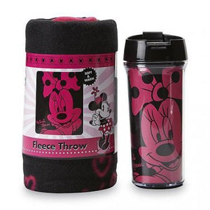 DISNEY MINNIE MOUSE TRAVEL MUG & SNUG FLEECE THROW BLANKET GIFT SET NEW IN BOX- Personalized