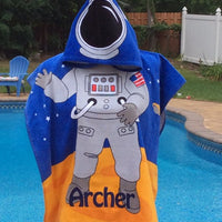 ASTRONAUT Space Explorer Hooded Cotton Beach Poncho Towel Personalized