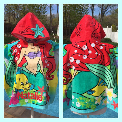 Disney's The Little Mermaid Ariel Hooded Bath towel Poncho - Personalized