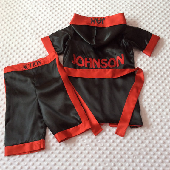 CUSTOM Made Satin Baby BOXING Robe & Trunk set Boxing Outfit Personalized