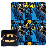 "Batman Night Shield 3D 14"" by 14"" Pillow and 40"" by 50"" Fleece Throw in Pocket Set PERSONALIZED"