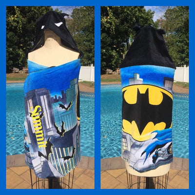BATMAN BOYS Venture Safe Hooded Towel Wrap – Super Bat Hero Personalized
