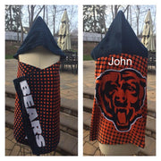 Football NFL Chicago Bears hooded Towel Wrap - Personalized