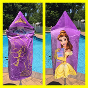 Princess Belle Beauty and the Beast Hooded Bath Towel Wrap – Personalized