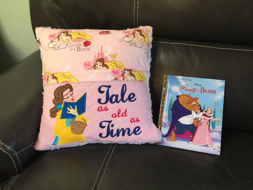 Pocket Pillow Reading Pillow Beauty and The Beast Gift for Girl - Personalized