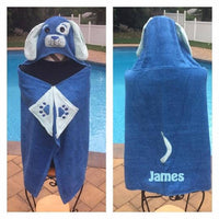 Blue Puppy Dog Hooded Towel Bath Wrap Toddler Beach Towel - Personalized
