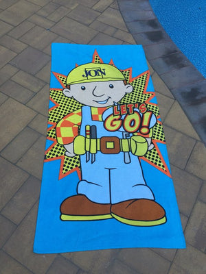Bob the Builder Cotton Velour Beach Towel Personalized Beach Towel