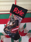 Star Wars Darth Vader Boba Fett Christmas Stocking 20 inch Satin with Plush Cuff - Personalized T2