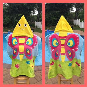 Butterfly Hooded Cotton Beach Poncho Towel Personalized
