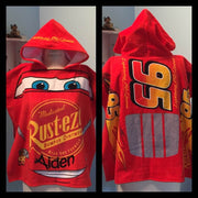 Disney/Pixar CARS Lightning McQueen Hooded Poncho Towel – Personalized