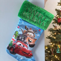 "Disney Pixar CARS 20"" Satin Christmas Stocking Plush Cuff - Personalized T1"