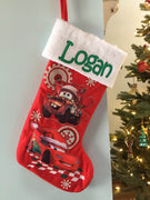 "Disney Pixar CARS 21"" Quilted Christmas Stocking Plush Cuff - Personalized T9"