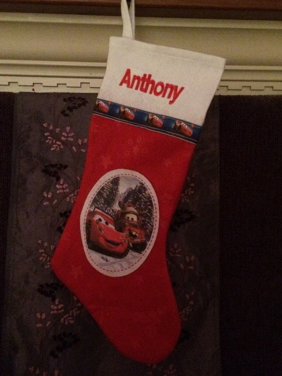 CARS Lightening McQueen Mater Christmas Stocking 18 inch - Personalized T13