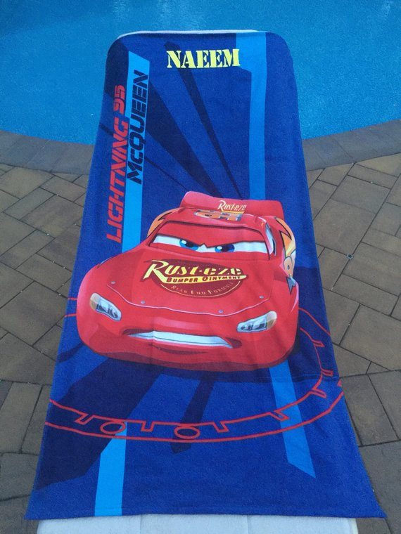 LIGHTENING MCQUEEN design and Personalised Name Embroidered onto Towels Robes