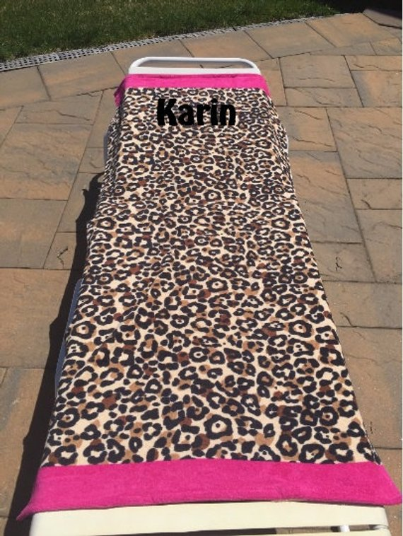 Beach Towel Cheetah Print with Hot Pink borders - Personalized