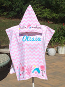 Chevron Dolphin Flamingo Sea Horse Hooded Beach Poncho Towel Personalized
