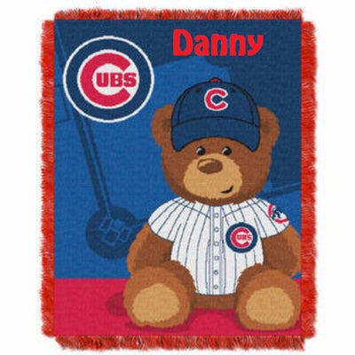 MLB Chicago CUBS Field Baby Bear Tapestry Throw Blanket - Personalized