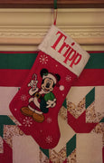 "Disney 20"" Appliqued Mickey Mouse Full Body Plush White Cuff Christmas Stocking - Personalized"