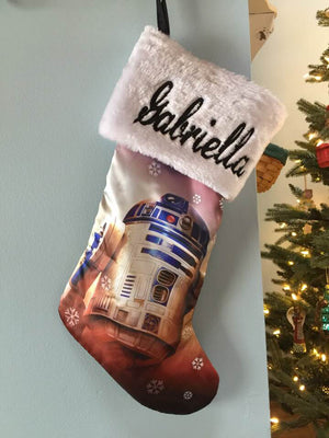 Star Wars R2D2 Droid Christmas Stocking 20 inch Satin with Plush Cuff  - Personalized T2