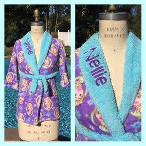 Frozen Elsa Snuggle Fleece Bath Robe - Personalized Size 8 LAST ONE
