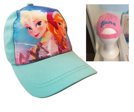 FROZEN Girls Anna & Elsa Baseball Hat - Blue Personalized