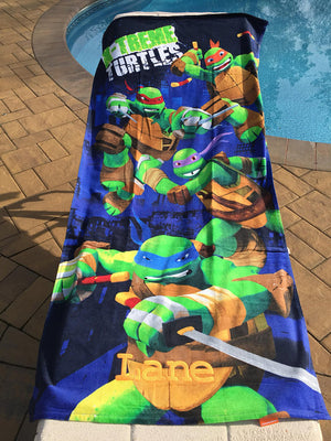 TMNT Turtles Extreme Heroes Beach Towel - Personalized Beach Towel