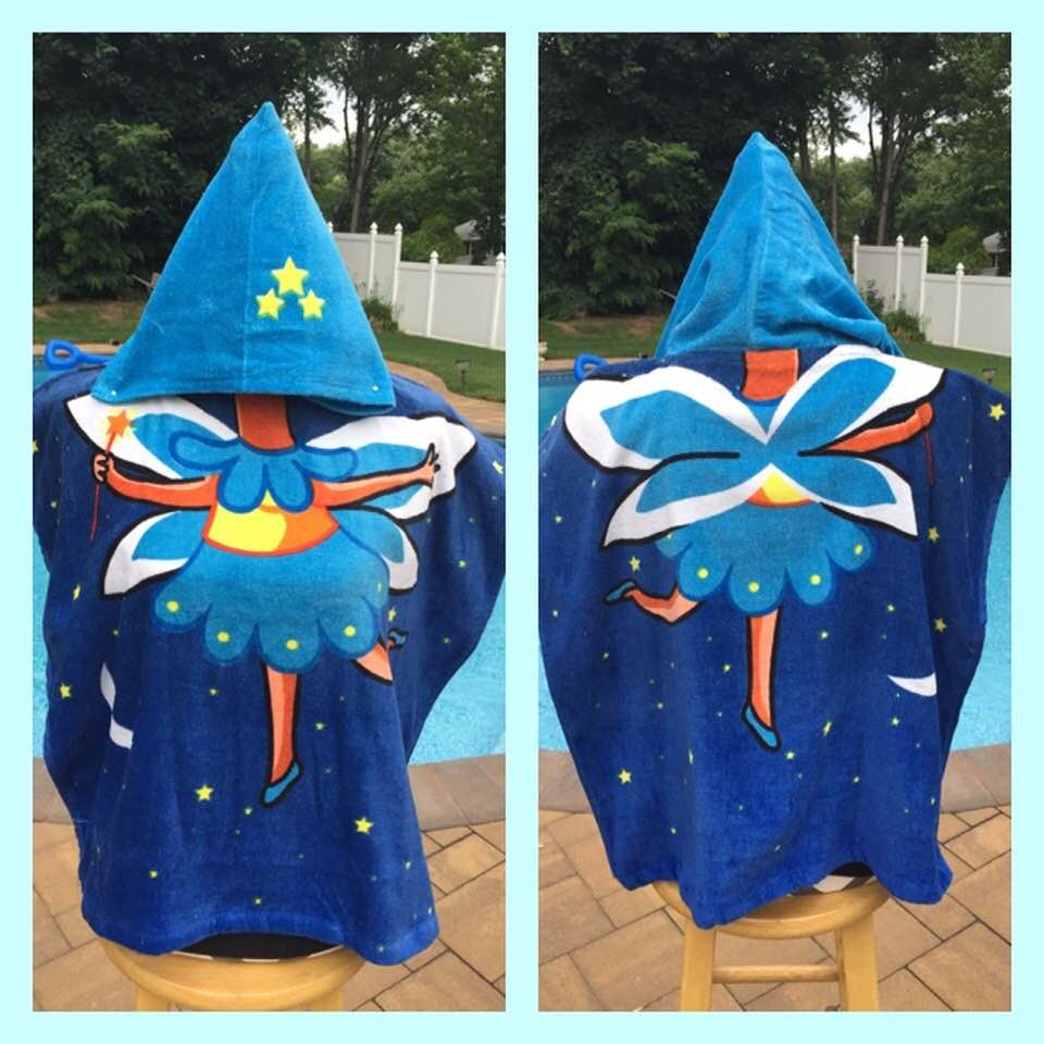 Fairy Hooded Cotton Beach Poncho Towel Personalized