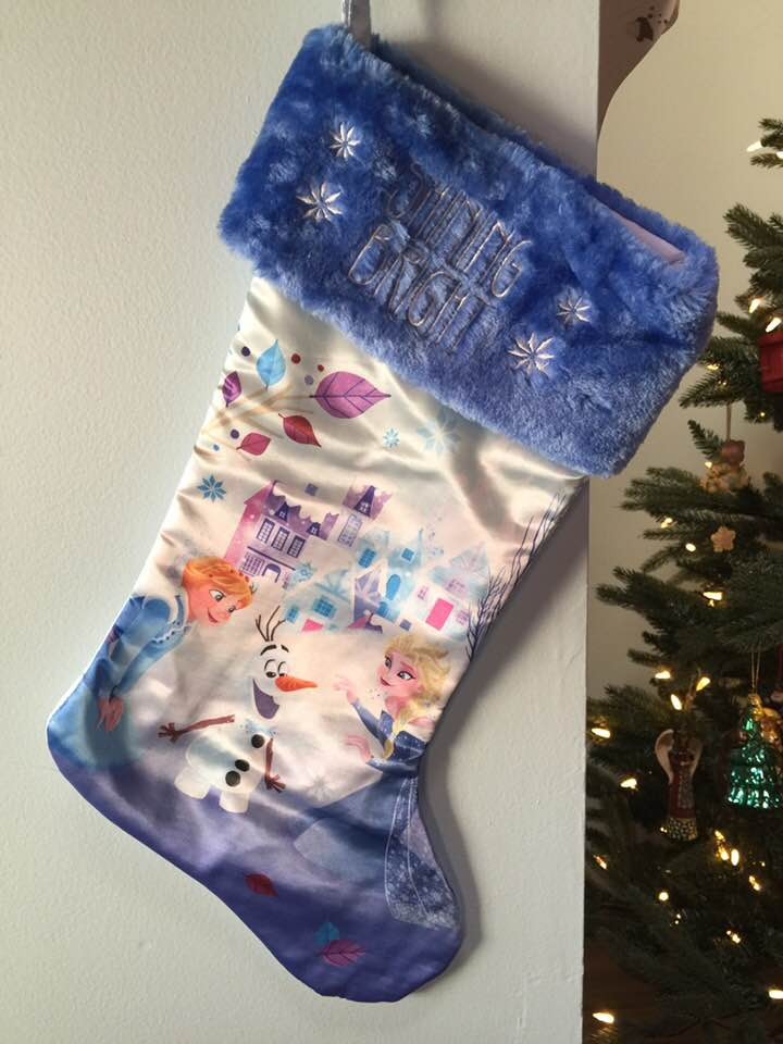 "FROZEN Elsa Anna Olaf 20"" Christmas Stocking Blue Plush Cuff - Personalized - T5"