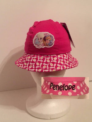 Disney Junior Frozen Elsa and Anna Applique Bucket Hat - Personalized