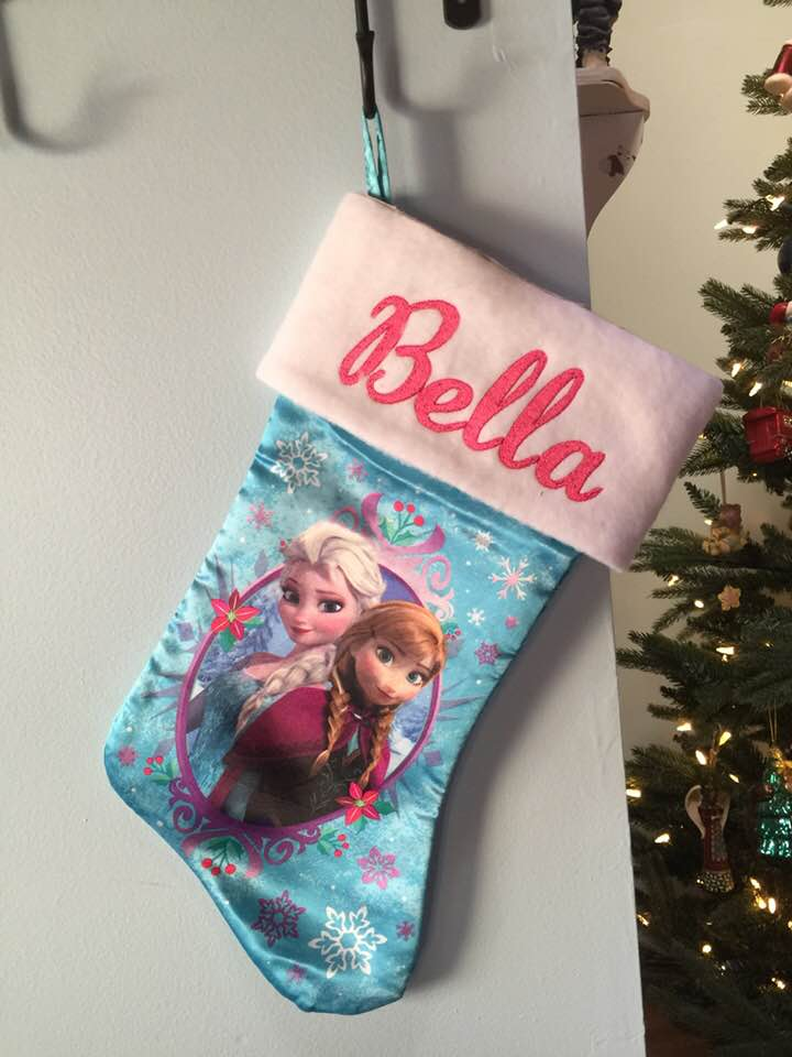 "Frozen Anna Elsa 18"" Satin Christmas Stocking Plush Cuff - Personalized - T5"