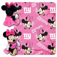 Disney Minnie Mouse NFL New York Giants Cheerleader Fleece Throw Blanket & Hugger - Personalized